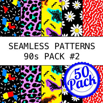Printable Seamless Patterns - 90s Pack #2 from ItsAllPrintable on