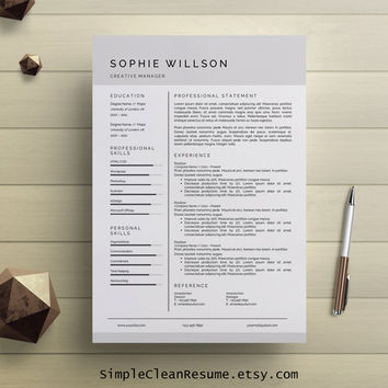 Simple Resume Template Clean CV Design from SimpleCleanResume on - clean resume template