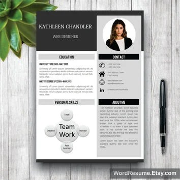 Clean Resume Template With Photo + Cover from WordResume on Etsy
