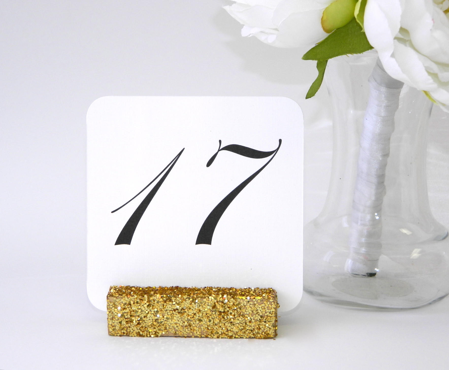 Wedding Table Number Holders + Gold from gallery360designs.com