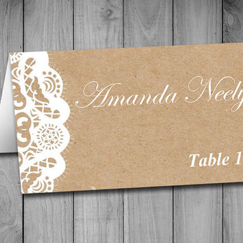 Fold Over Wedding Place Card Template - from PaintTheDayDesigns