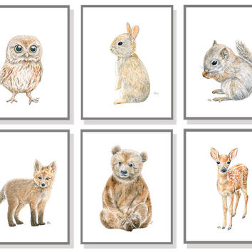 Fall Woodland Creatures Wallpaper Woodland Nursery Art Animal Painting Baby From