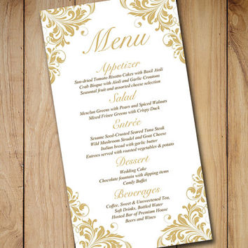 Gold Wedding Menu Card Template - Wedding from PaintTheDayDesigns
