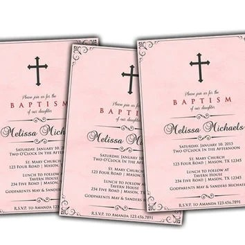 Rose Pink Watercolor Baptism Invitation from PartyPrintExpress on