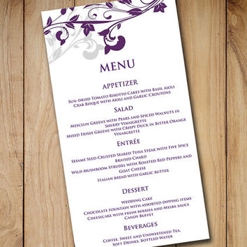 Wedding Menu Card Template Download - from PaintTheDayDesigns on