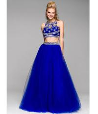 Royal Blue Two Piece Beaded Gown 2015 from Unique Vintage