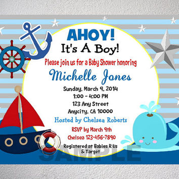 Nautical Boy Baby Shower Invitation, from DPIexpressions on Etsy