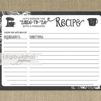 Best Downloadable Recipe Cards For Bridal Shower Products on Wanelo