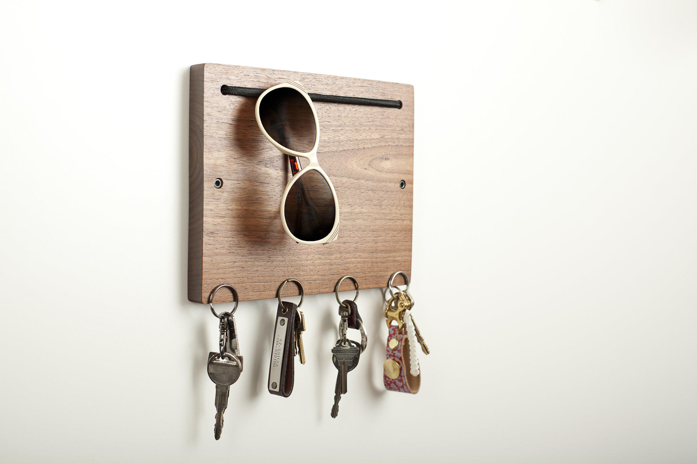 Wood Key Holder For Wall Blokkey Eyewear And Key Holder In Walnut From Artful Home