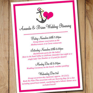 Beach Wedding Itinerary Template - from PaintTheDayDesigns on