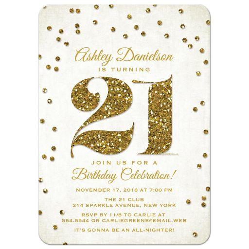 21st Birthday Party Invitations - Gold from Lemon Leaf Prints