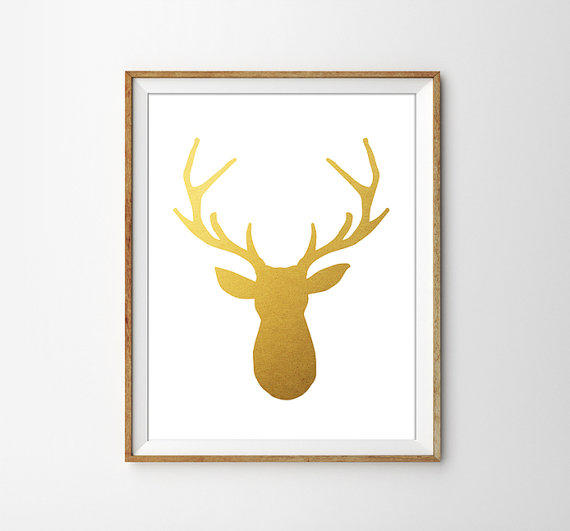 Gold Foil Deer Print. Shabby Chic Wall from Sams Simple Decor
