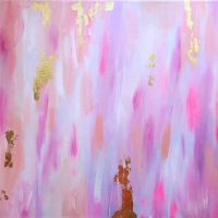 Golden Rain - 11x14 Pink, navy and gold from ...