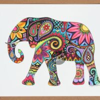 Original Watercolor Ink Elephant Painting from MeganJDesigns