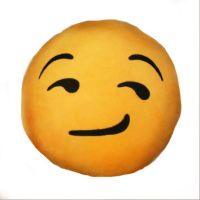 B2- SIDE SMIRK  EMOJI PILLOW from B2!