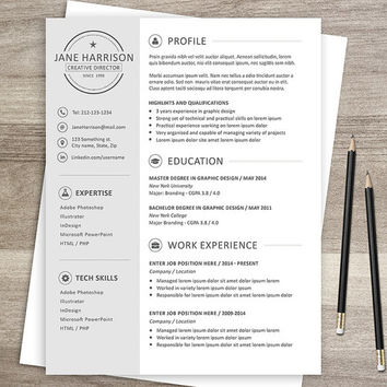 Resume template - CV template + cover from Graphicadi on Etsy