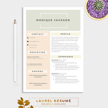 Elegant Résumé Template 2 Pages Resume + from LaurelResume on
