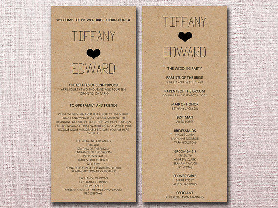 Kraft Wedding Program Template Download - from PaintTheDayDesigns - wedding program