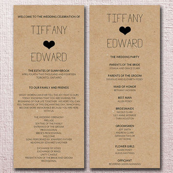 Kraft Wedding Program Template Download - from PaintTheDayDesigns - wedding program template