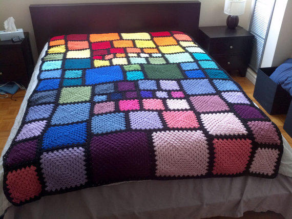 Long Twin Sized Rainbow Squares Crochet From Fantasticmio