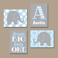 BOY Elephant Wall Art Baby Blue Boy from TRM Design | Wall Art