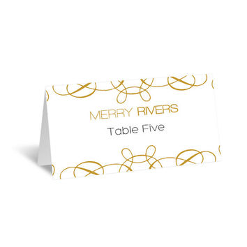 Wedding Place Card Template - Gold Swirls from GraphicArtDesign