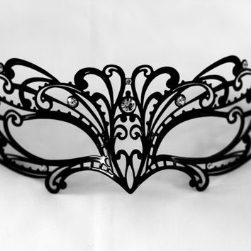 Blace lace laser cut metal masquerade from Stefanelbeadwork on