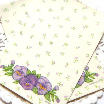 Vintage Floral Stationery Purple from ThePaperBasket on Etsy