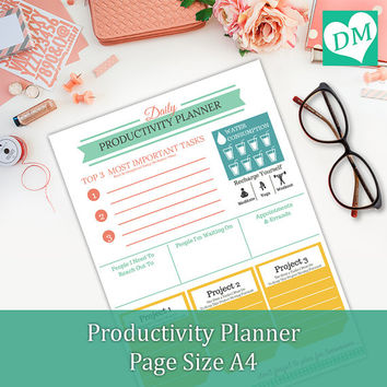Daily Planner Template Instant from Designing Miracles (Etsy - downloadable daily planner