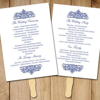 Wedding Fan Program Template - Printable from PaintTheDayDesigns