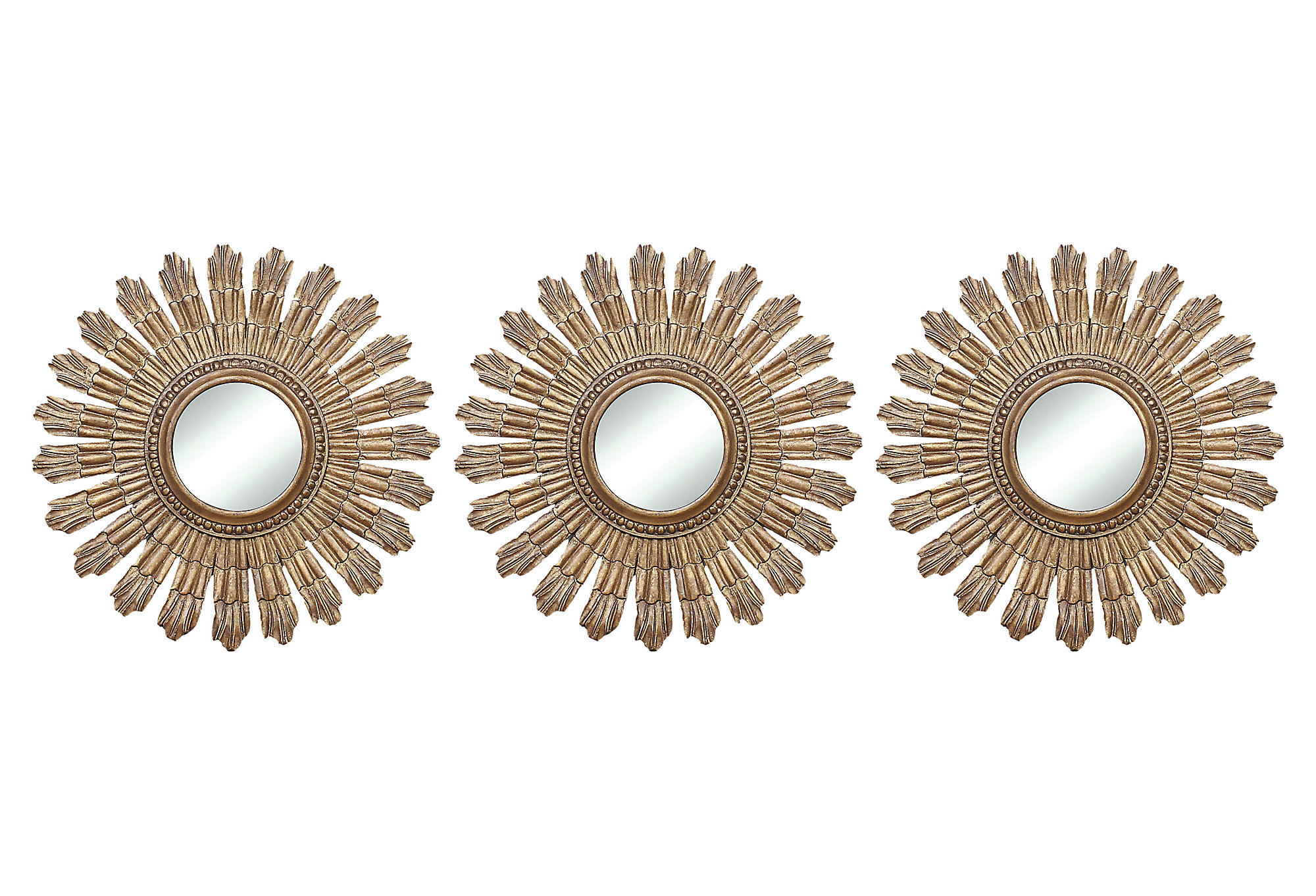 Small Gold Mirror Set Mirrors Sunburst Accent Mirror Set From One Kings Lane