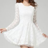 White Beam Waist Scoop Collar Lace Dress from Hello Styles
