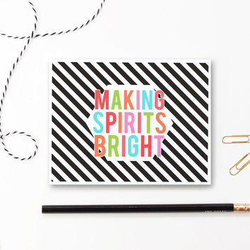 Christmas Cards Making Spirits Bright from When it Rains Paper - christmas cards black and white