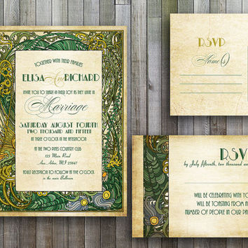 Shop Art Deco Wedding Invitations on Wanelo
