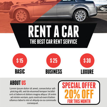Rent a Car Flyer Template from QuickNickDesign - for rent flyer template