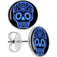 Black Blue Sugar Skull Art Stud Earrings from Body Candy