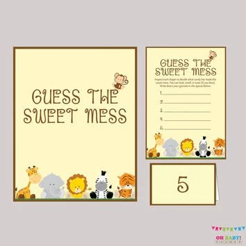 Diaper Candy Bar Game Safari Baby Shower from OhBabyShower on