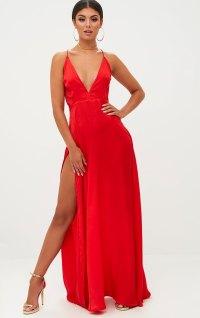 Red Extreme Split Strappy Back Maxi Dress. Dresses ...