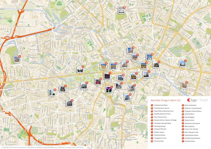 Berlin Printable Tourist Map Sygic Travel