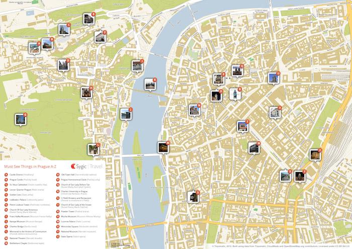 Prague Printable Tourist Map Sygic Travel