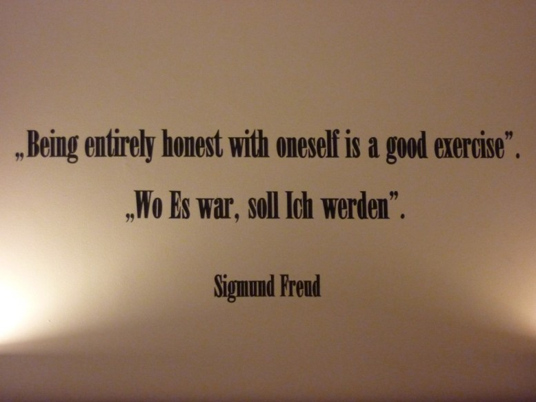 Quote on the wall of the Sigmund Freud Suite at Hotel de Filosoof