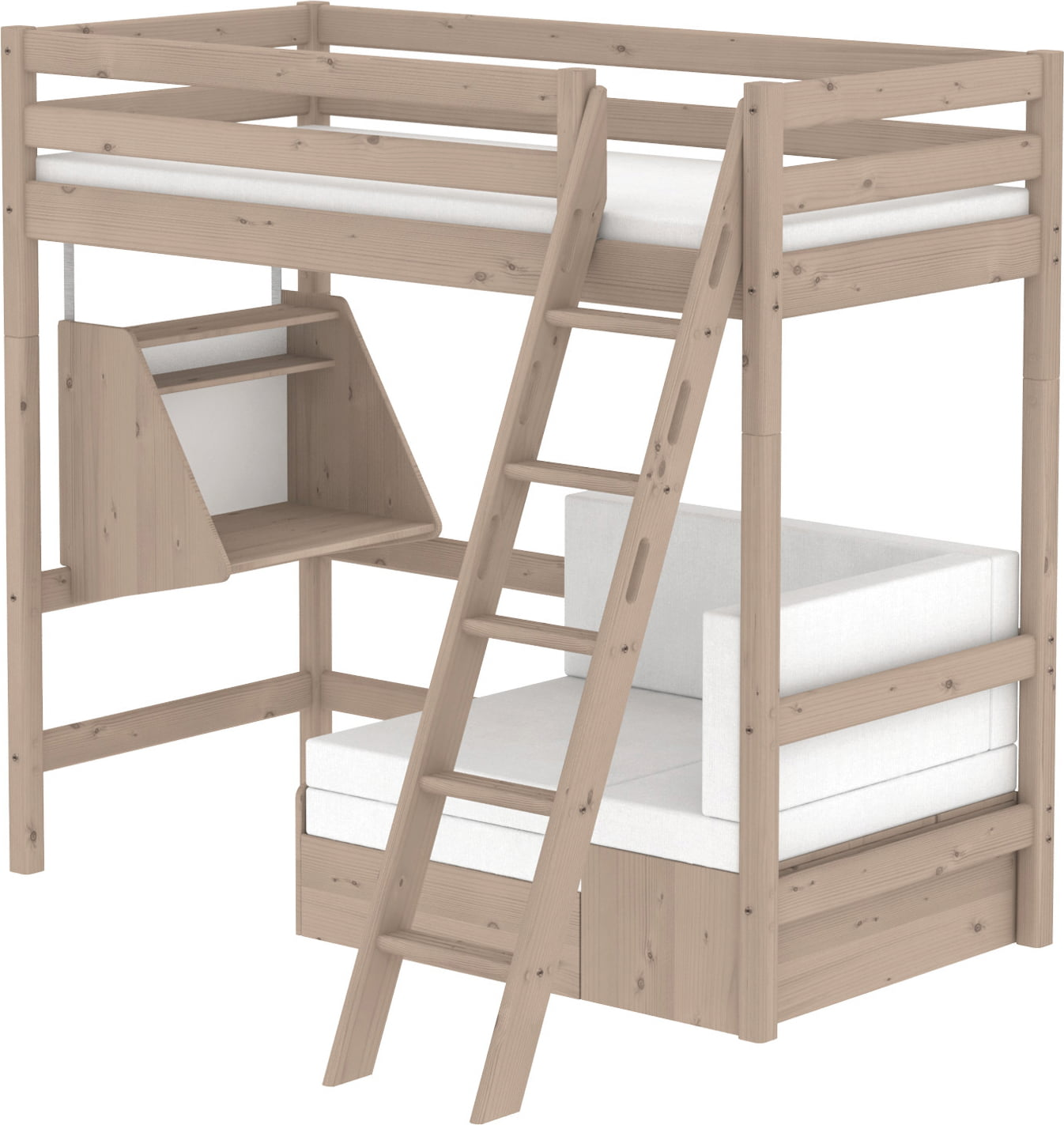 Kinderhochbett Flexa Loft Bed Classic Casa With Sofa Bed And Hanging Desk With Inclined Ladder