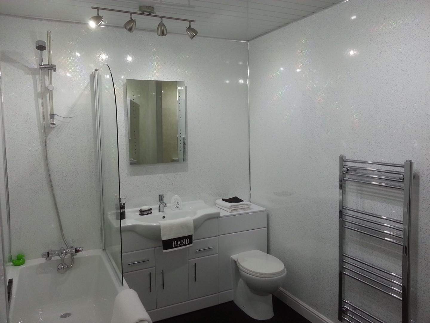 5 White Sparkle Diamond Effect Pvc Bathroom Cladding Shower Wall Panels By Bcs Panels Shop Online For Homeware In Fiji