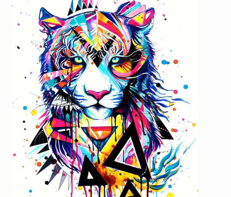 Cmyk Wallpaper Hd Tiger Watercolor Painting By Pixie Cold No 2134