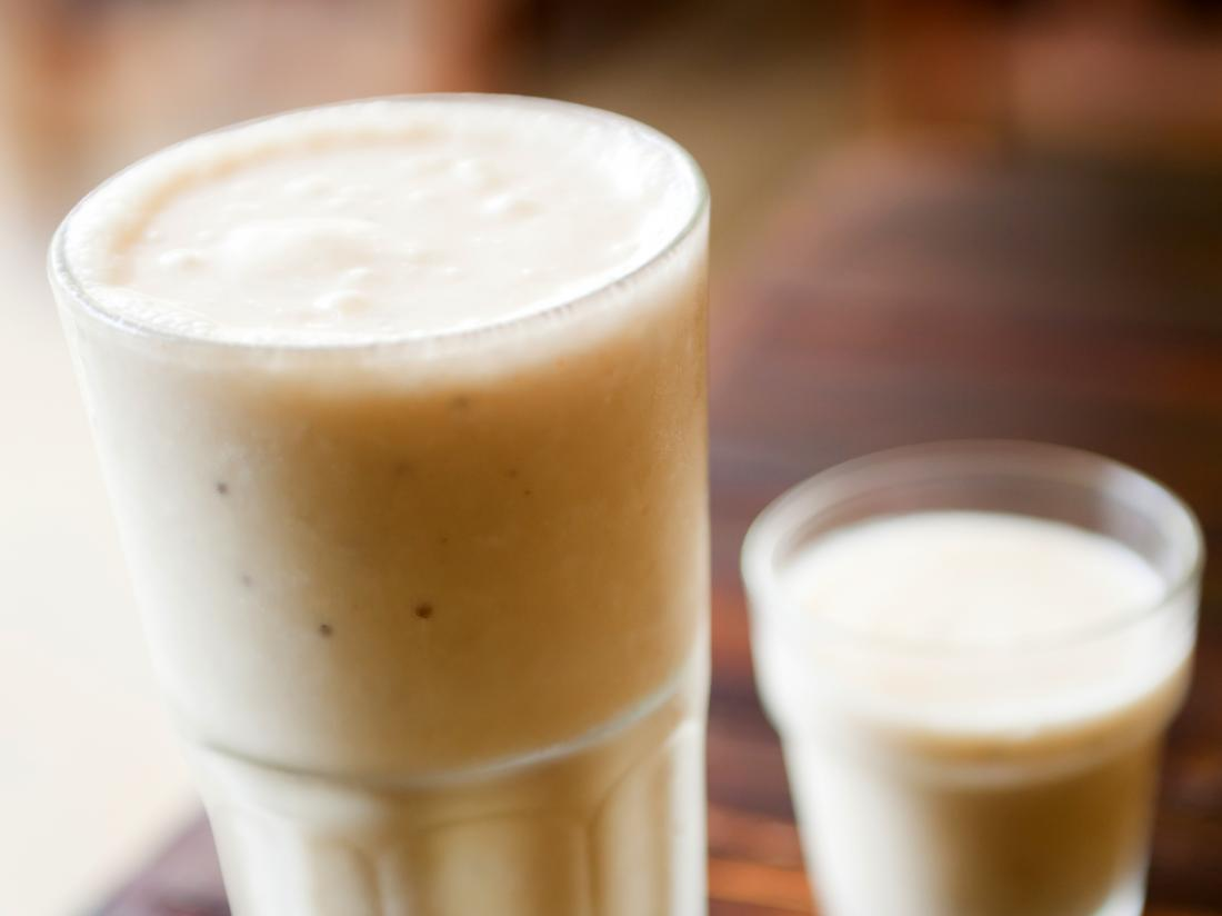two glasses of Peanut Butter Banana Smoothie