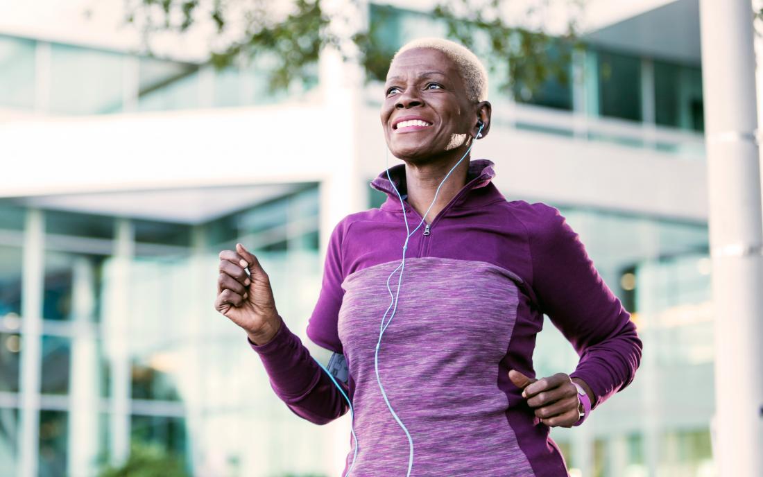 A woman exercises to help her obstructive sleep apnea