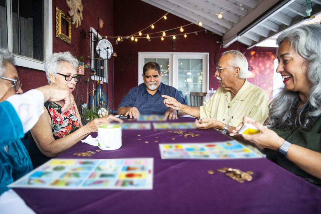 seniors playing board games