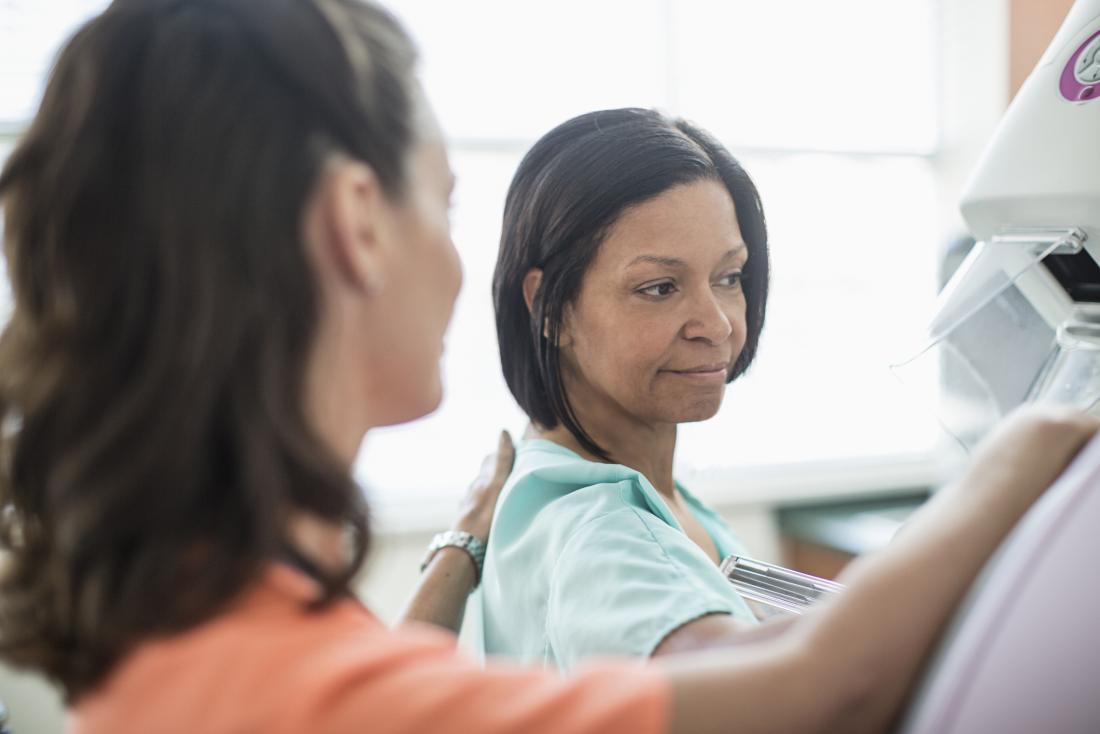 woman undergoing a mammogram