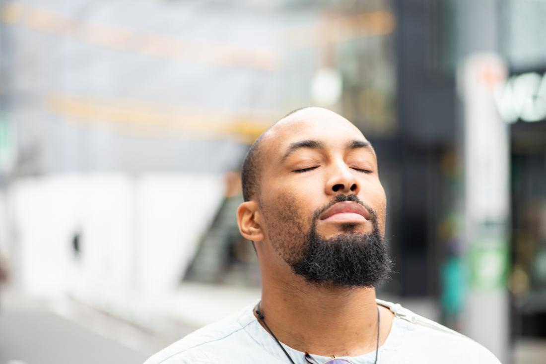 Mindful man in the street