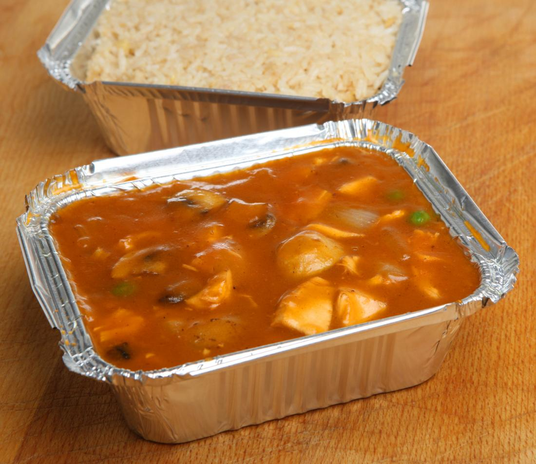 takeaway food in aluminium containers